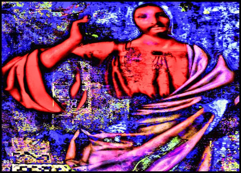 Digital Abstract based on a painting by Andrea Solario, The Christ Blessing