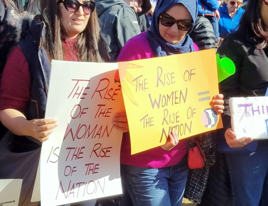 Scenes from the 2018 Women's March in San Francisco - A sign that reads the rise of women, the rise of a Nation