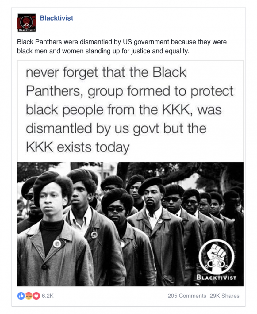 A Russian Facebook that makes a false connection between the persistance of the KKK and the demise of the Black Panthers