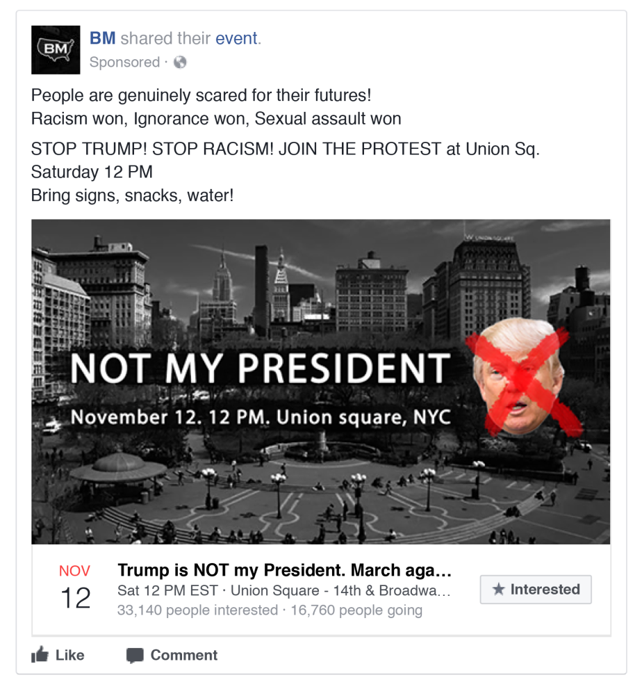 A 'Not my President anti-Trump Facebook page