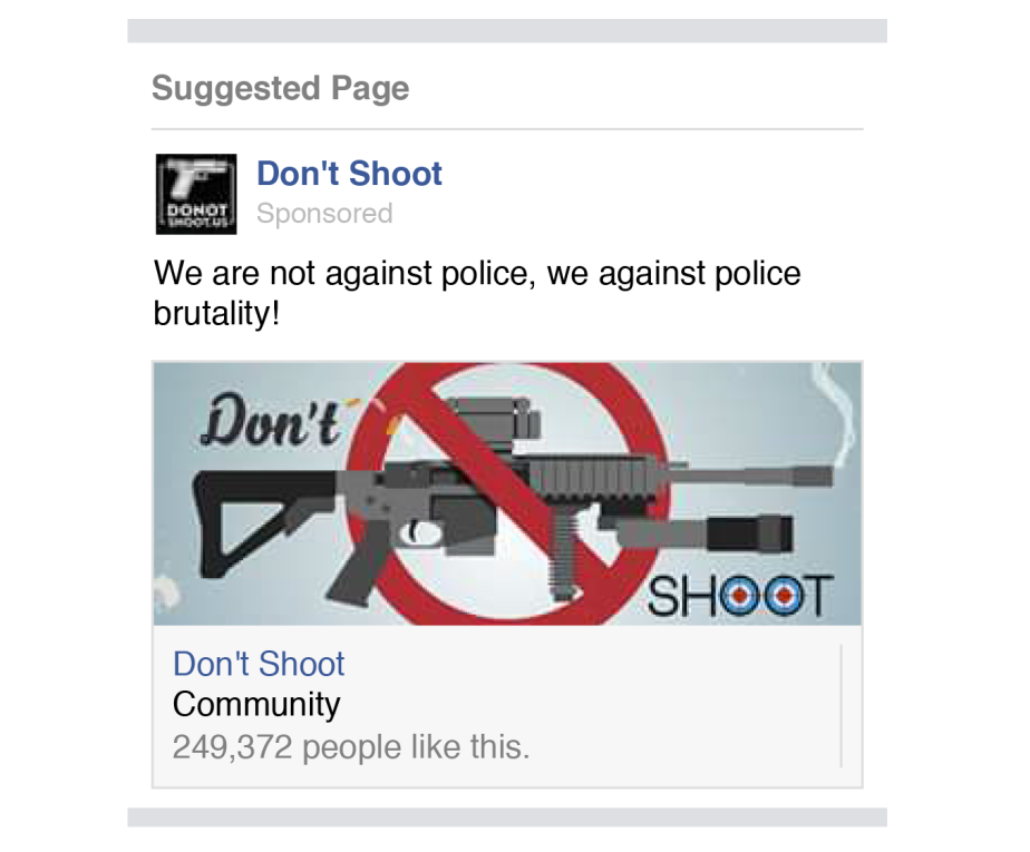 A russian facebook page purporting to be against police Brutality