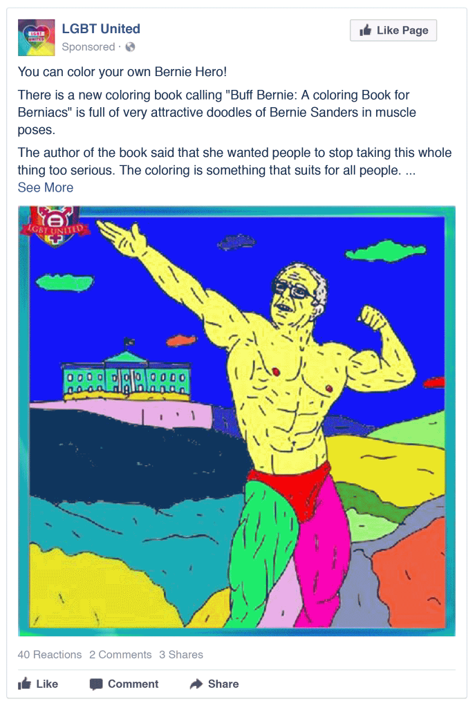 A russian facebook ad that depicts Bernie Sanders as a gay superhero