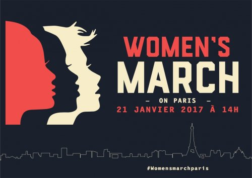 A flyer for the January 21 Women's March in Paris, France