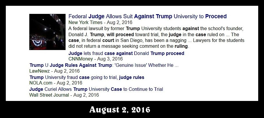 an August 2016 news item reporting that a Judge found evidence to let the lawsuit against Trump University to proceed.