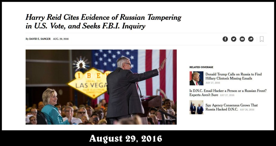 Screenshot of a News item Dated August 29, 2016, Senator Harry Reid cites evidence of Russian Tampering,