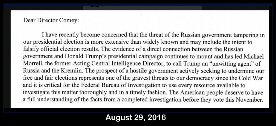 Screenshot of August 29, 2016 - Letter from Harry Reid to FBI- regarding Russian Election Tampering