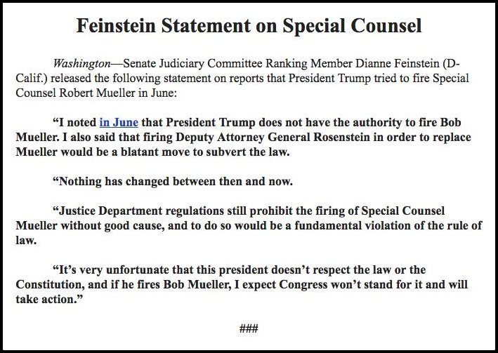 Screenshot of a statement from Dianne Feinstein in which she observes that trump doesn't respect the Constitution or the rule of law.
