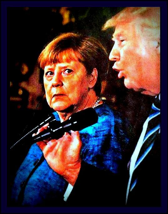 Cropped and Processed UPI photogragh of Angela Merkel staring in horror at Donald Trump 3/17/2017