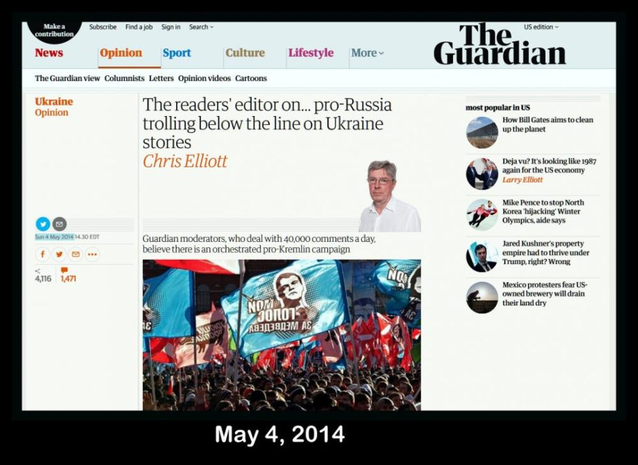 Screenshot of the UK Guardian editors note on Pro-Kremlin Trolls