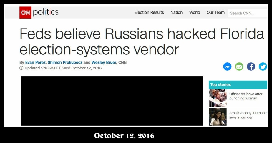 Screenshot of CNN Report that American Law Enforcement think Russia hacked Florida's voting machines