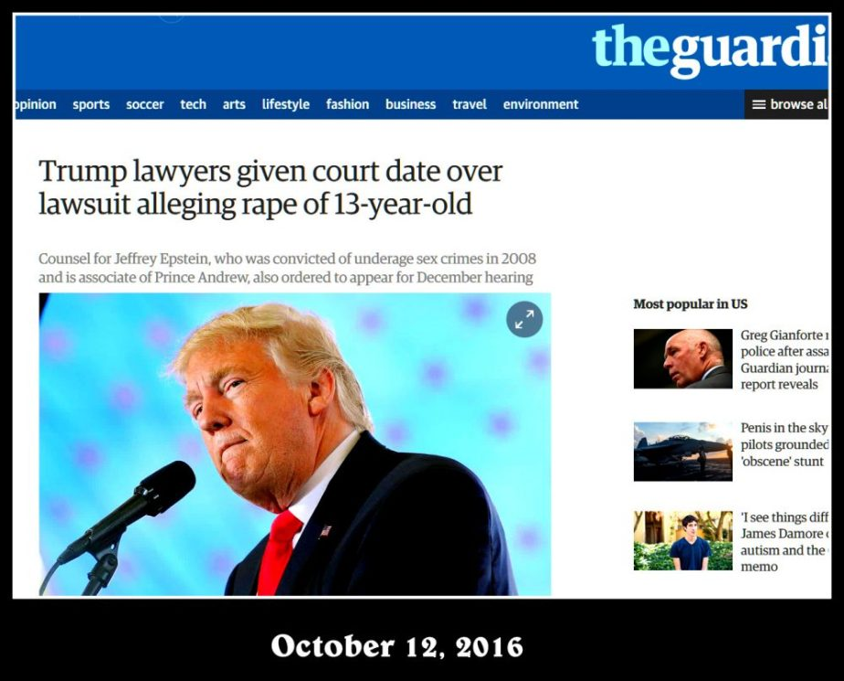 screenshot of UK Guardian Story on Rape charges from a woman who claims she was 13 when Trump raped her.