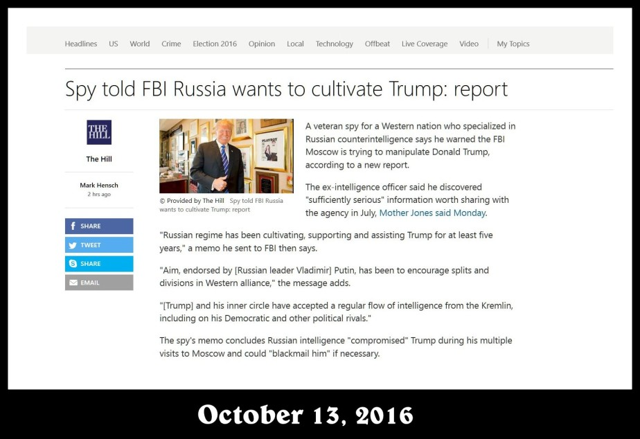 Screenshot of a story in the Hill, October 13, 2016 report of regarding information connecting the Trump campaign to Moscow