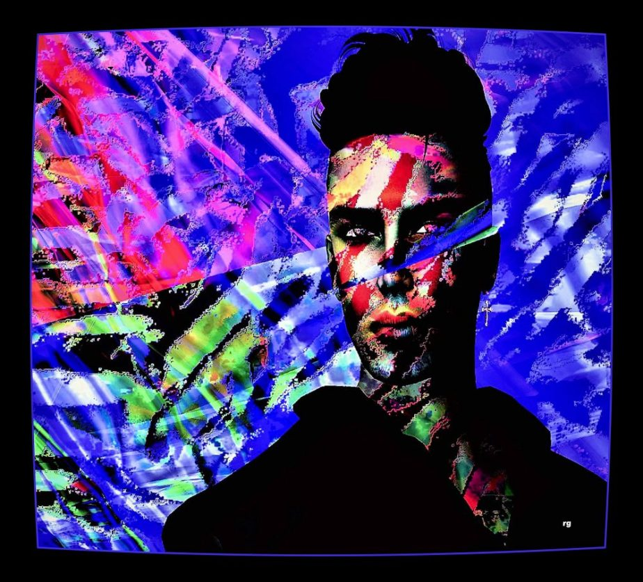 semi-abstract portrait of an avatar in bright primary colors
