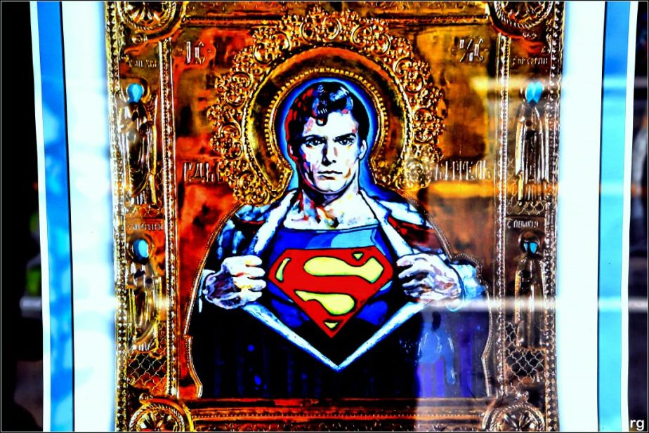 Photograph of Superman as a Russian Icon seen in a show window on Valencia Street in San Francisco