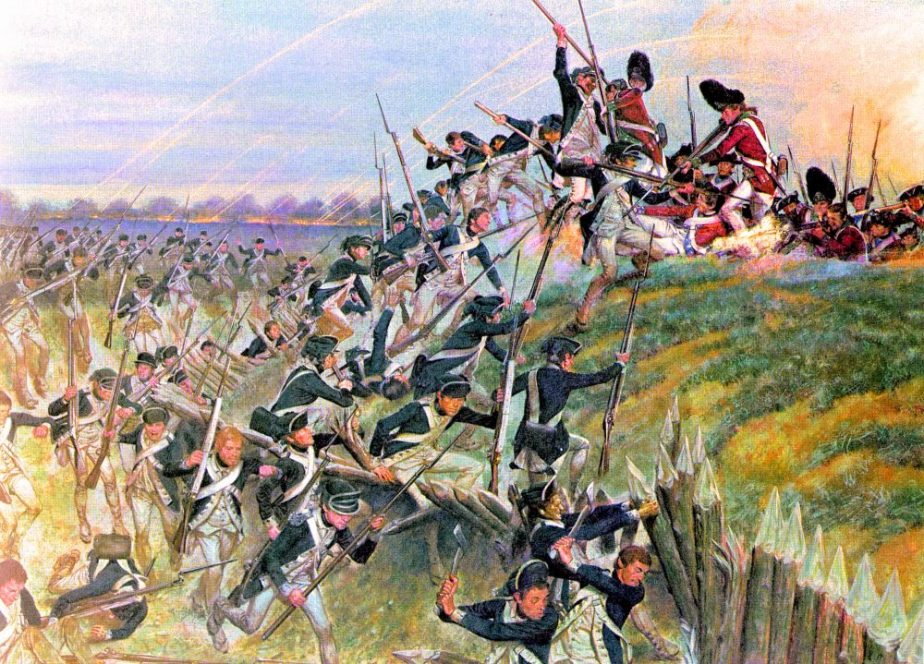 A photo of a copy of a painting that depicts the Battle of Yorktown