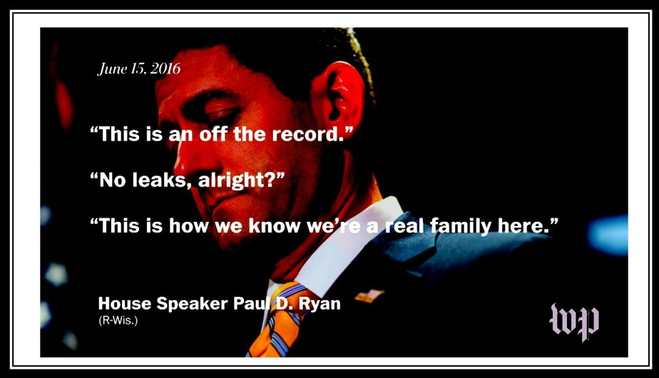 A photo-shopped screenshot of a photo of Paul Ryan with a quote of him saying that knowledge of Russian involvement in Trump's campaign must remain a secret