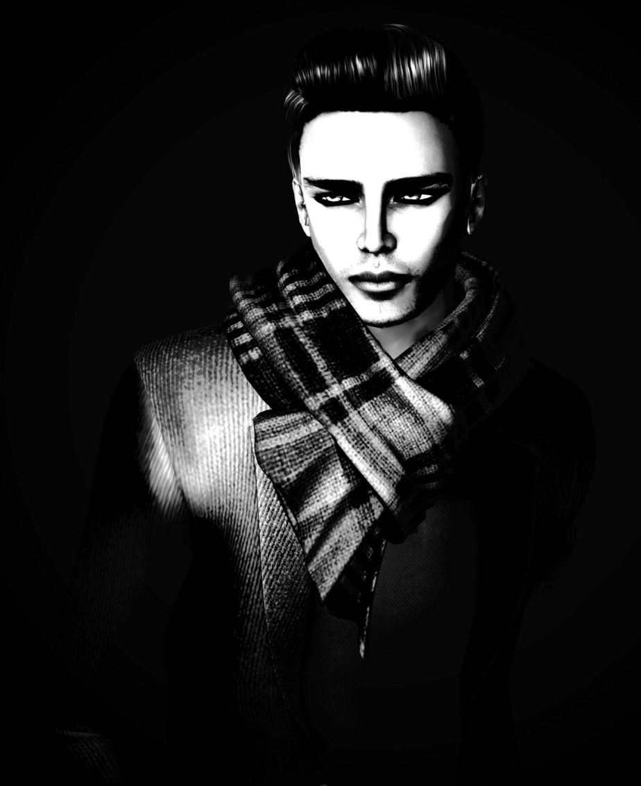 High contrast black and white portrait of an avatar that represents a character named Bobby