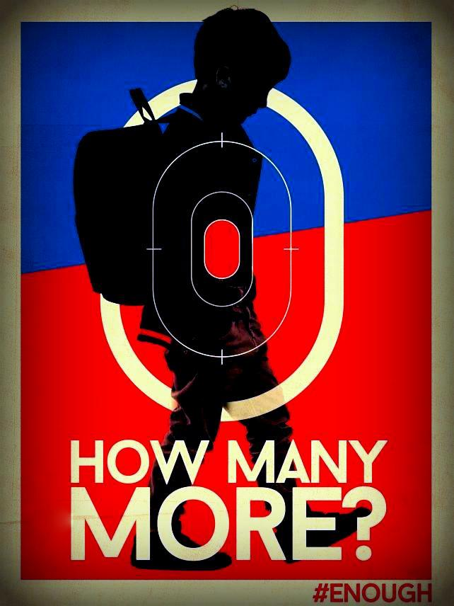 How Many More? A poster designed by Dave Nieves which depicts a child in a backack in a rifle site