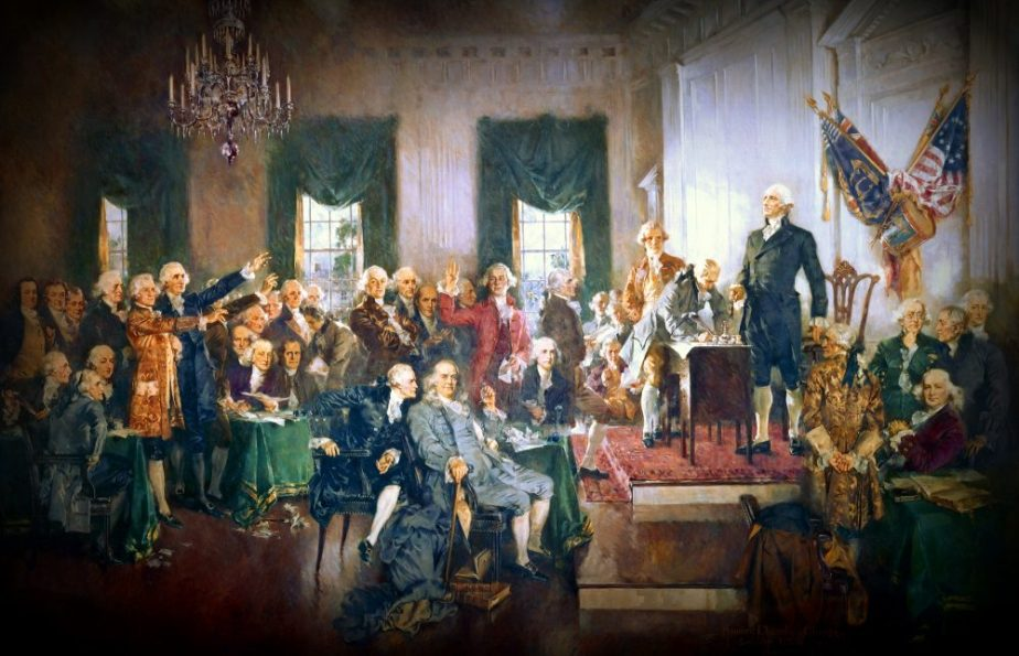 A painting that depicts the signing of the Constitution of the United States