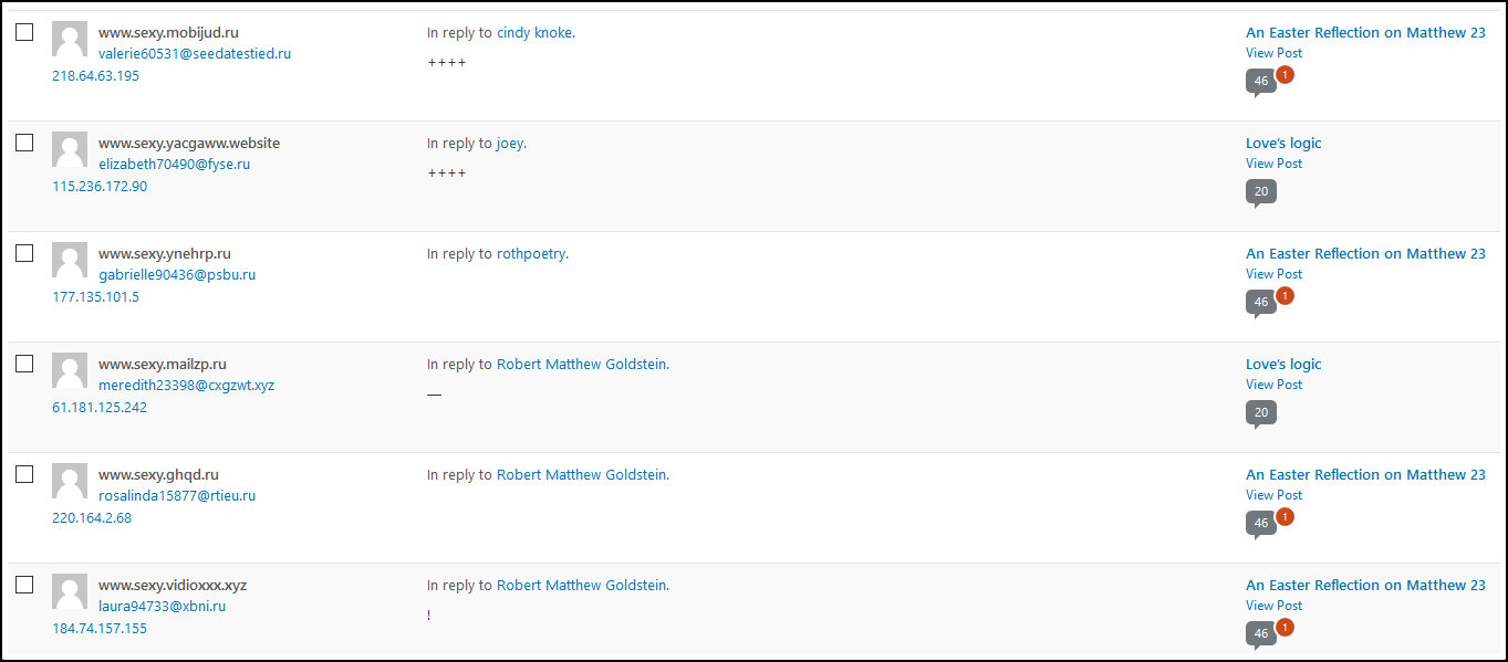 Spam on my wordpress account from Russian smut peddlers