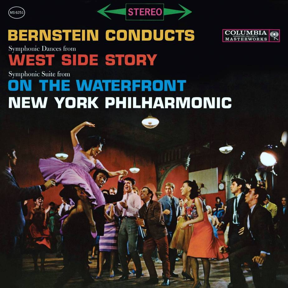 Album cover of Symphonic Dances From West Side Story; Symphonic Suite From On The Waterfront by Leonard Bernstein; New York Philharmonic with a scene from the rooftop dance