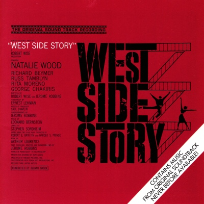 Bright red cover art for West Side Story: The Original Sound Track Recording by Leonard Bernstein; Stephen Sondheim
