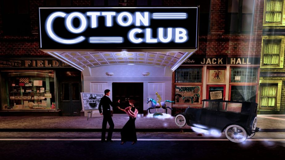 Virtual reality staging of a dance scene in front of a replica of the Cotton Club from The 1920's