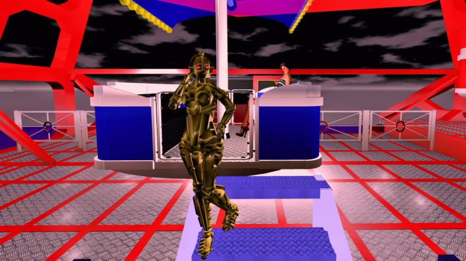 Virtual reality staging of a woman on a Ferris wheel with the robot from metropolis in the foreground