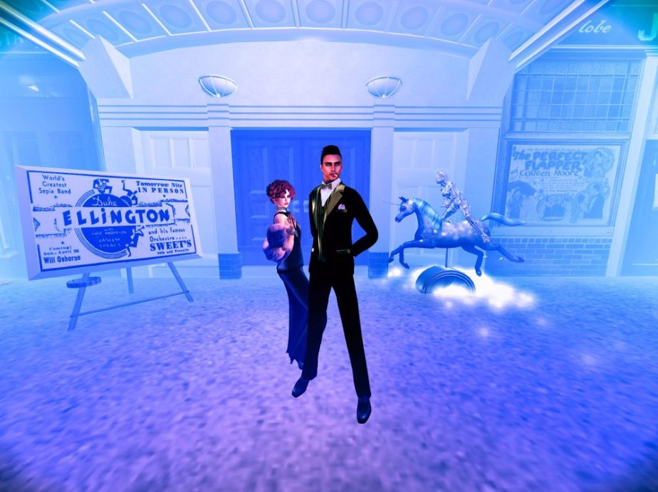 A staging of the Cotton Club of the 1920's with avatars posing in front of the club