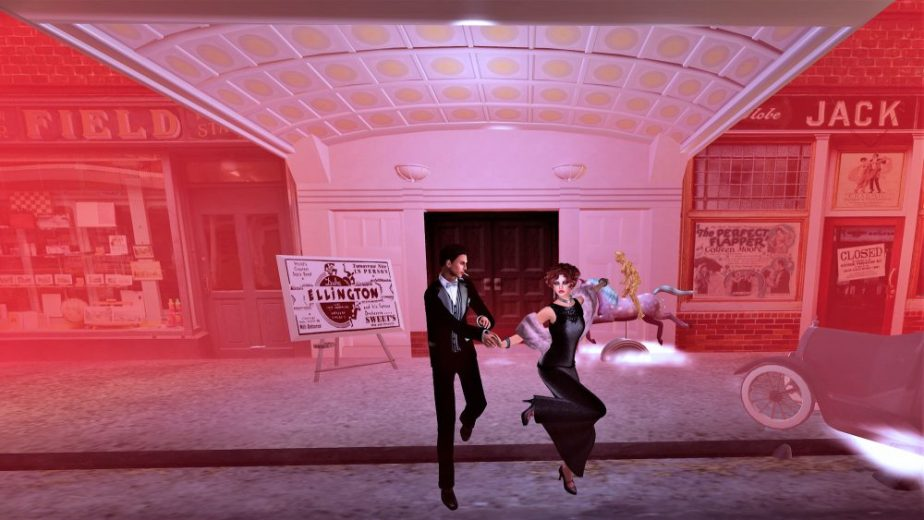 A staging of the Cotton Club of the 1920's with avatars doing the Lindy on the street