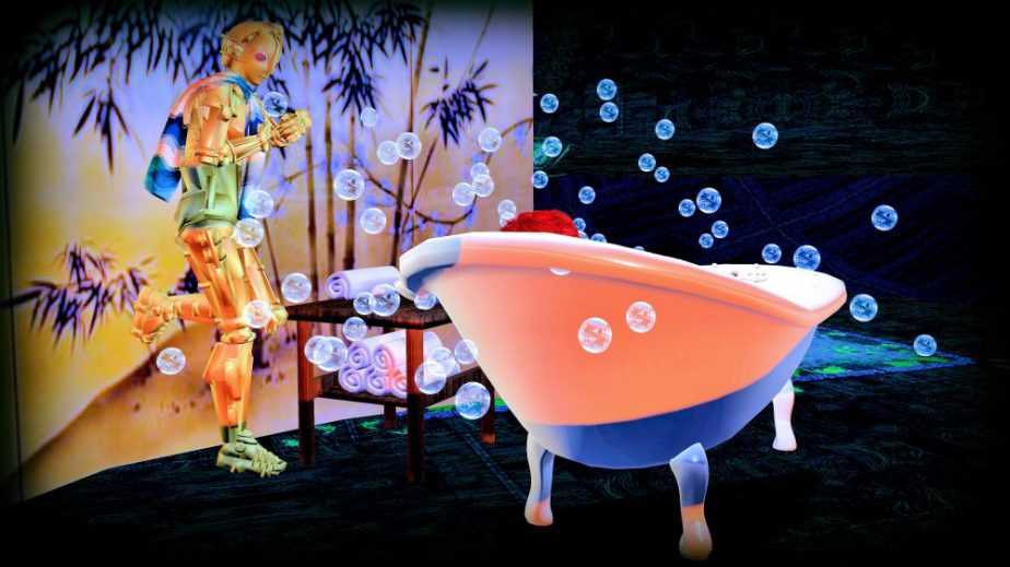 Illustraton staged in Virtual Reality to illustrate Hullab Lulu, image depictts and avatar in a bathtub while a robot holds her towel