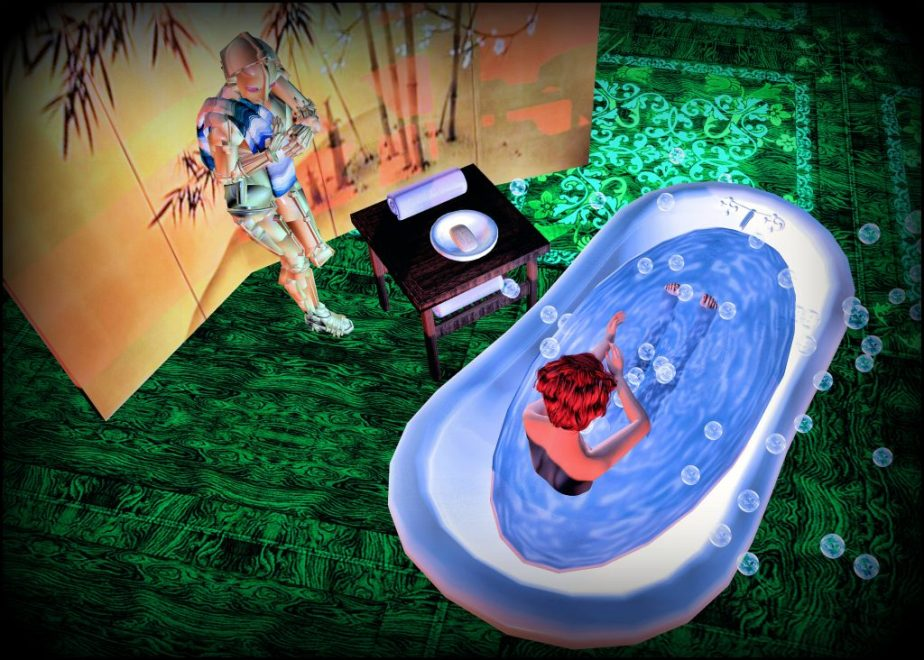 Illustraton staged in Virtual Reality to illustrate Hullab Lulu, image depictts and avatar in a bubble bath bathtub while a robot holds her towel