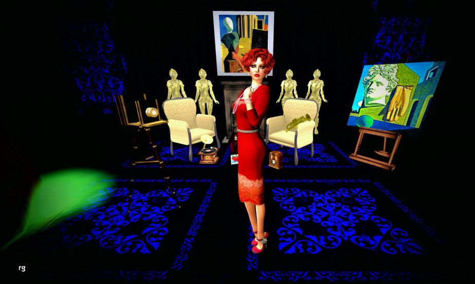 A Female avatar in 20's attire stands in front of paintings by Giorgio de Chirico and the Robots of Metropolis