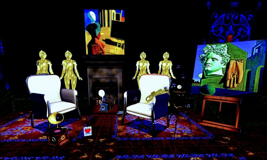 Paintings by Giorgio de Chirico as part of a virtual set that includes the robot from the film Metropolis