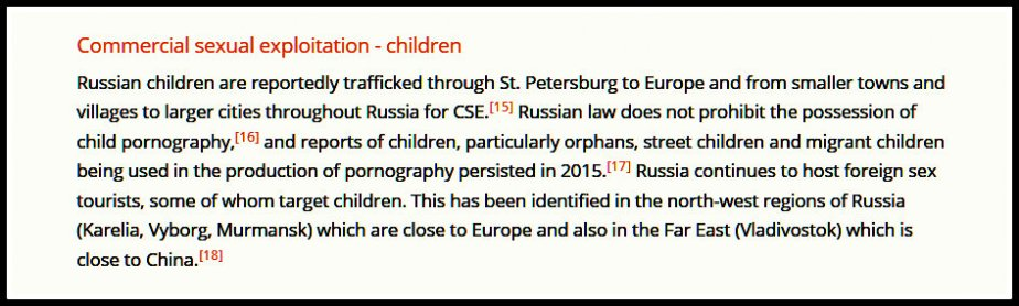 Screen Shot from the Global Slavery Index describing Russia's use of children in its sex industry.