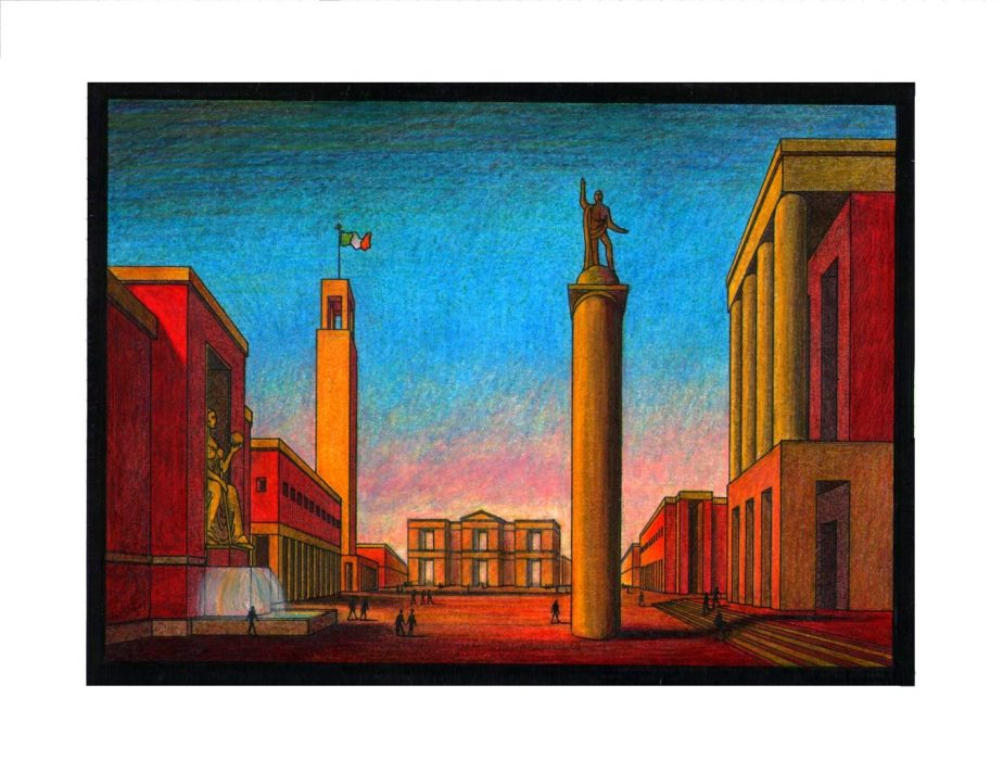 Pubic Domain copy of a painting by Arnaldo_Dell'Ira_(1903-1943) called Piazza_d'Italia