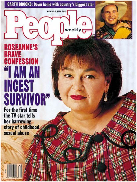 A cover of People Magazine, 1991 with Roseanne Barr on the cover with the caption, I am an Incest Survivor B