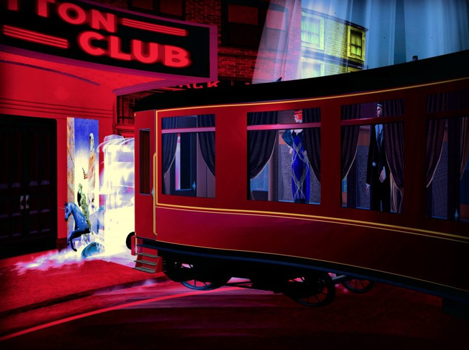 Photograph staged in Vritual reality of a train veering into the cotton club
