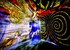 An illustration depicting a robot entering Egypt through a Time Portal