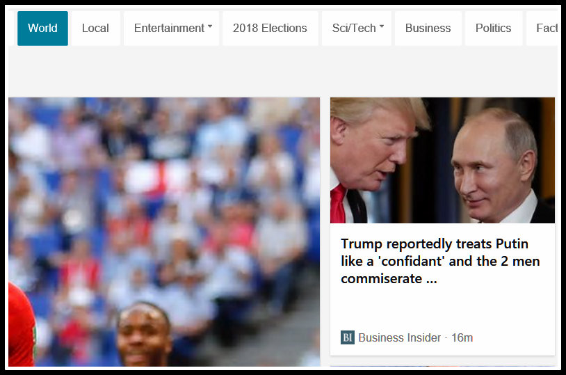 Screenshot of Trump and Putin with the caption Trump treats Putin like a Confidant