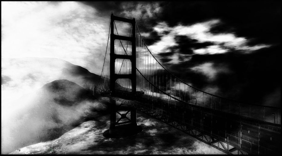 Digital painitng of the Golden Gate Bridge based on a photograph made in virtual reality