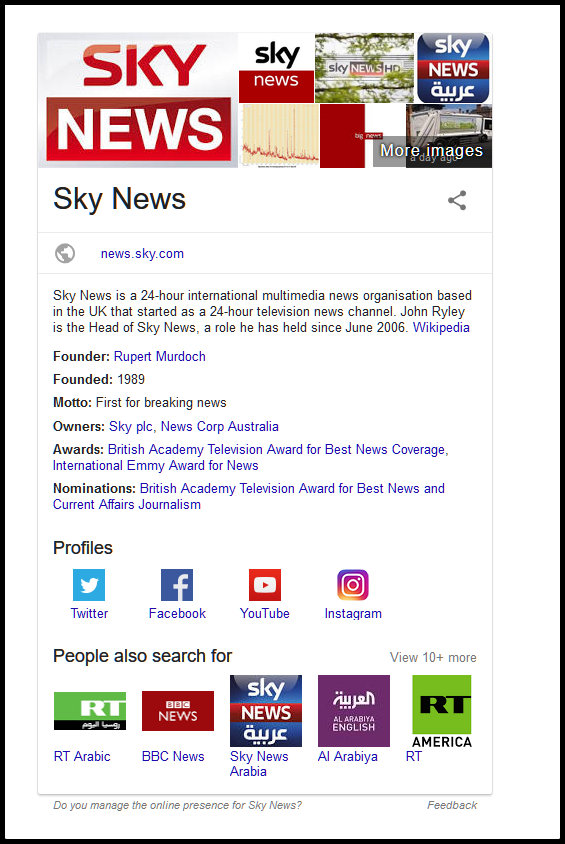 screenshot of SkyNews was founded in 1989 by Rupert Murdoch