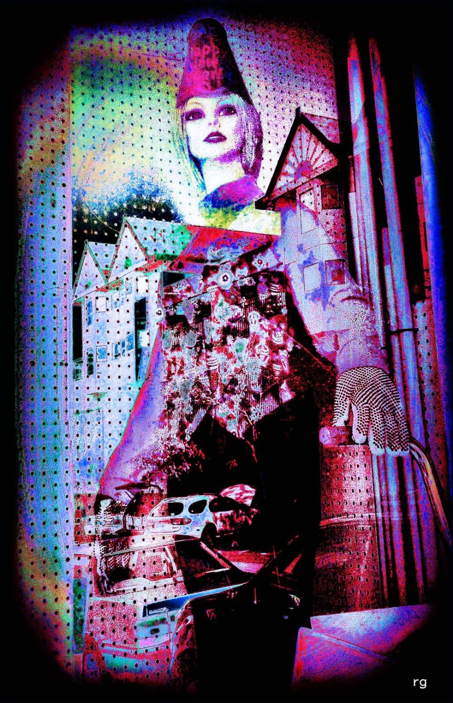 Photo-processed Illustration based on a 2011 Blackberry shot of a mannequin in the window of a cleaning supplies shop in the Mission District of San Francisco.