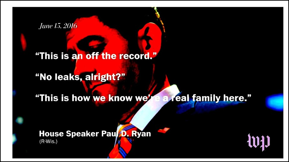 A Washington Post screen shot of Paul Ryan telling his colleagues to be quiet about Putin funding Trump.