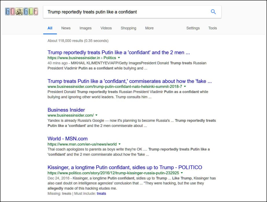 Screenshot of search results for Trump Reportedly Treats Putin like a Confidant