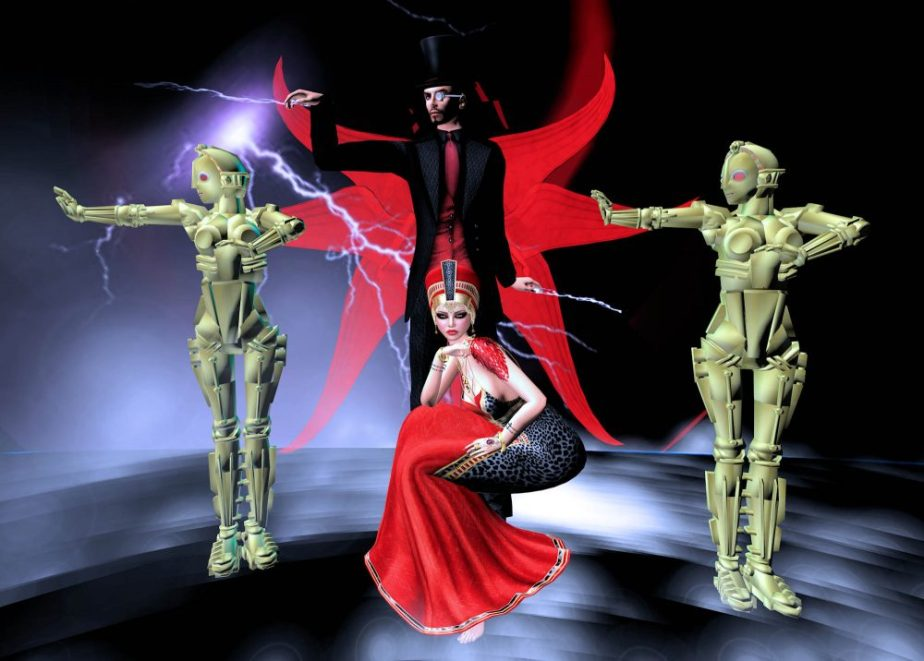 Virtual reality photograph of avatars dressed like the robot from Metropolis, Tesla and an Egyptian Goddess