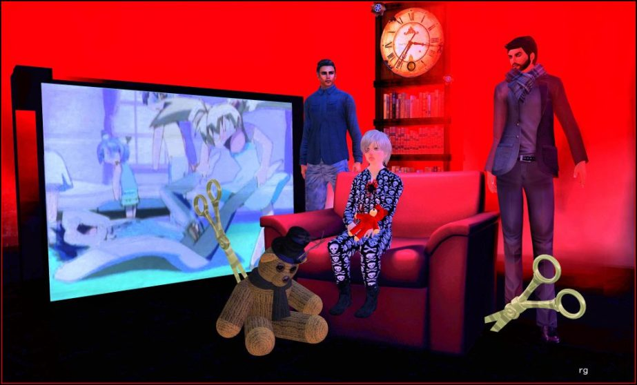 An illustration staged in virtual reality of a battered little boy with two male adults moving to protect him