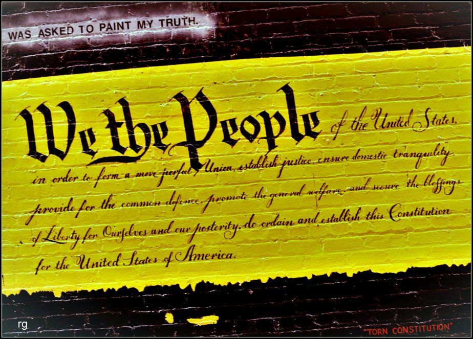 Photograph of a Wall Mural depicting the opening paragraph of the constitution of the United States
