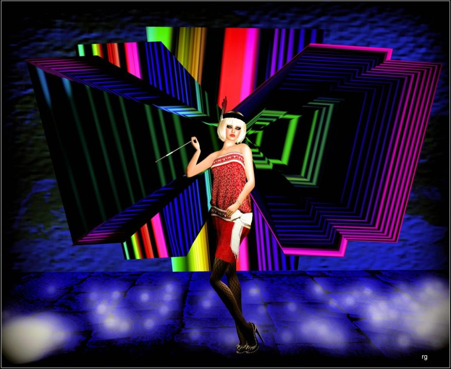 VR photograph of a female avatar dressed as a flapper from the roaring 20's