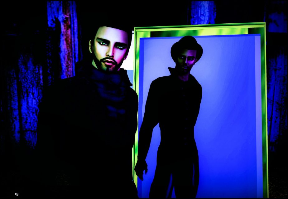VR photograph of two male avatars, one who stands in front of a mirror and the other who is emerging from it